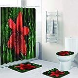 AUXING Duschvorhang Bodenmatte Kombination Vierteilige Toilette Toilette Teppich Duschraum Matte...