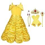 Viclcoon Prinzessin Kostüm Mädchen, Belle Kostüm Kinderkleider Mädchen Tutu Kleid mit Zubehör,...