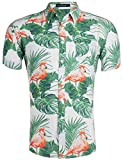 Loveternal Hawaiihemd Herren Flamingo Hemd 3D Druck Blumen Funky Freizeit Kurzarm Hawaii Shirt M
