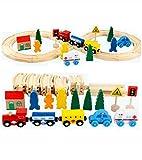 Lalia Bahnset Zug Schienenbahn aus Holz 33 Teile, Holzspielzeug für Kinder, bunt, Eisenbahn...