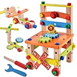 Dirgee Holzgebäude Set Hammer Spielzeug, DIY Block Bolzen Set Aktivität Arbeitsstuhl BAU Sets Holz...