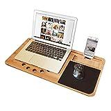 mikamax - Lapzer Laptop Schreibtisch - Bambus - Luftlöcher - Betttisch - Laptoptisch - Knietablett...