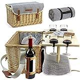 HappyPicnic Picknickkorb für 4 Personen, Picknick Set mit Tisch und Picknick Decke, Weiden...