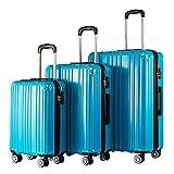 COOLIFE Hartschalen-Koffer Rollkoffer Reisekoffer Vergrerbares Gepck (Nur Groer Koffer Erweiterbar)...