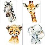 artpin® 4er Set Bilder Kinderzimmer Deko Junge Mädchen - DIN A4 Poster Tiere - Safari Afrika...