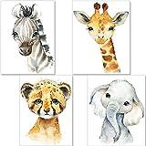 artpin 4er Set Bilder Kinderzimmer Deko Junge Mädchen - DIN A4 Poster Tiere - Safari Afrika...