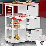 Küchenwagen mit Rollen - Arbeitsplatte und Rahmen aus Holz, 3 Schubladen, 2 Ebenen und...