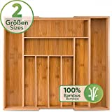Loco Bird Besteckkasten für Schubladen aus Bambus – Ausziehbar bis zu 9 Fächern - Nützlicher...