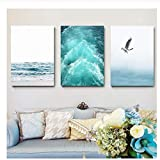 Blue Sea And Sky Nordic Landscape Canvas Painting Free Seagull Waves Beach Art Poster Living Room...