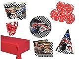 Party Deko Set Formel 1 Rennauto Kindergeburtstag 64 teilig 12 Personen Junge Komplettset Mottoparty...