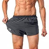 NAVISKIN Herren leichte und schnelltrocknende Split Laufshorts Trainingsshorts (ohne eingearbeiteten...