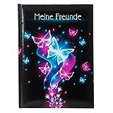 goldbuch Freundebuch, Schmetterling, DIN A5, 88 illustrierte Seiten, Kunstdruck, Schwarz/Pink/Blau,...