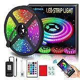 AMBOTHER LED Streifen 5m RGB LED Strip 150 LEDs 5050SMD Lichtband mit Fernbedienung Netzteil, 23...