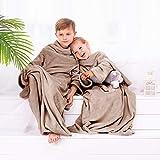 DecoKing Kinder Kuscheldecke mit Ärmeln 90x105 cm grau Microfaser TV Decke weich Fleecedecke Kiddo