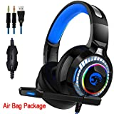 ZJKLY PS4 Gaming Headset 4D Stereo RGB Marquee Headset mit Mikrofon für Xbox One/Laptop/PC/Tablet...