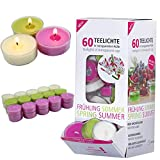 Smart-Planet® Kerzen Ambiente - 60 Duft Teelichter Lilie mit transparenter Hülle Blumen...