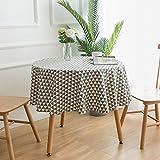 LT Tischwäsche Tischtücher Runde Tischdecke aus Baumwolle und Leinen Teetisch Gedruckte Tischdecke...