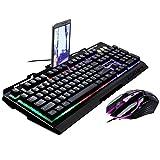 Tastatur und Maus Set Gaming Wired Maus und Computer Tastatur Set Rainbow LED Hintergrundbeleuchtung...