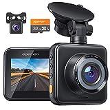 APEMAN Dashcam Vorne und Hinten Autokamera mit MicroSD-Karte, 1080P HD Mini Dual Lens Kamera, 170 °...