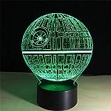 jiushixw 3D Acryl Nachtlicht mit Fernbedienung Farbwechsel Tischlampe Death Star Optical Platform...