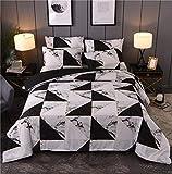 Marmor Bettbezug-Set Doppel Geometrische Marmor Muster Muster Schwarz Quilt Bettbezug Bettwäsche...