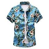 nobrand kurzrmeliges Hawaii-Hemd fr Herren, bergre 5XL 6XL 7XL Gr. XL, himmelblau
