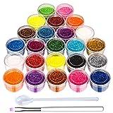 Glitzer für Nägel, 24-Farben Nagel Glitzer Puder, mit einem Pinsel und einer Kleiner Löffel mit...