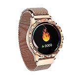 YQFN Fitness-Tracker D18 rundes Zifferblatt, Smart-Armbanduhr fr Damen, mit Herzfrequenz-Monitor und...