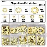 WEKON 180 Stück Messing Flach Unterlegscheiben 8 Größen Flach und Sicherungsscheiben Sortiment...