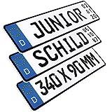 L & P Car Design 1 Stück Kennzeichen Junior-Schild 34cm x 9cm Geburtstags Schild Datum Wunschtext...