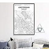LLXHGModerne Stadt Amsterdam Karte Minimalistischen Leinwand Malerei Schwarz Und Weiß Wand...