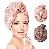 Haarturban, RenFox 2 Stück Turban Handtuch mit Knopf, Microfaser Handtuch für die Haare...