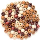 GLOREX Holzperle 80St Mix, Holz, Braun, 11 x 8.5 x 1 cm