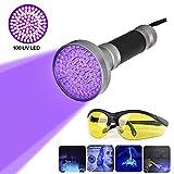 100 LEDs UV Schwarzlicht Taschenlampe mit UV-Schutzbrille,Ultraviolett Handlampe...