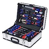 WORKPRO Haushalt Werkzeugkoffer Aluminum Werkzeugtrolley, Steckschlüssel-Satz Gabelschlüssel...