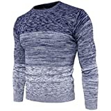 PUJIANGxian Herren Weste Gradient Pullover Rundhals Pullover Wollpullover-Block (Color : Blue, Size...