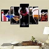 Leinwand Leinwand gedruckt Poster Home Decor 5 Stck Farbe Weinglser Cocktail Gemlde Gemlde Wandkunst...