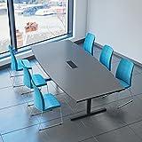 Easy Konferenztisch Bootsform 240x120 cm Anthrazit mit Elektrifizierung Besprechungstisch Tisch,...