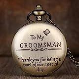 LXLH Taschenuhr und Kette, Vintage Bronze Anhänger Taschenuhr Graviert to My Groomsman Herren...