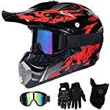 QYTK® Motorradhelm Motocross Helm Kinder Rot Schwarz, MT-51 Full Face Off-Road Motorrad Cross Helme...