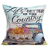 Doitely Life is Better in The Country Farm inspirierender Kissenbezug mit blauem LKW-Blumenmuster,...