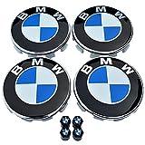 4X 68mm Nabenkappen für BMW + BMW Ventilkappen! Felgendeckel, Nabendeckel, Nabenabdeckungen,...