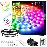Lepro LED Strip 5M, LED Streifen Musik Lichterkette mit Fernbedienung, Band Lichter, RGB Dimmbar...