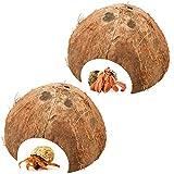 Bac-kitchen 2 Stück Kokosnuss Halbschale, Kokosnuss-Schale Einsiedlerkrebs Versteck, als Höhle...