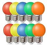 10er Pack Farbige Glühbirnen LED 1W E27 G45 Beleuchtung Glühbirnen, LED Farbige Golf Kugel...