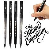 Kalligraphie Stifte, Surcotto 4 Größen Schwarze Fasermaler Pinsel Stift Kalligraphie-Marker,...