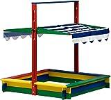 dobar 94356FSC - Sandkasten Holz mit Deckel, mit Dach absenkbar Spezial-Arretierung, Sandkiste groß...