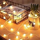 Fulighture Lichterkette Warmwei,5 Meter 40 LED Globe Lichterkette, Batteriebetrieben,IP65...