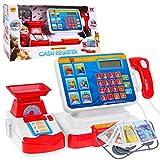 BSD Spielzeug Kasse, Supermarktkasse mit Spielgeld, Kalkulator, Scanner, Einkaufskorb und Zubehör -...