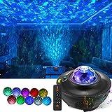 LED Sternenhimmel Projektor Lampe, Rotierende Wasserwellen Galaxy Light mit Fernbedienung und...